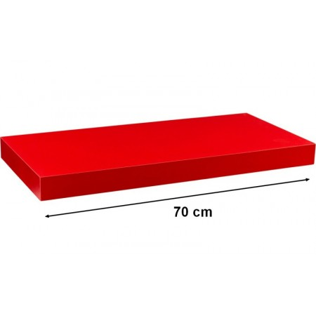 Moderní nástěnná police červená, 70 cm