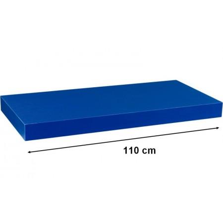 Moderní nástěnná police modrá, 110 cm