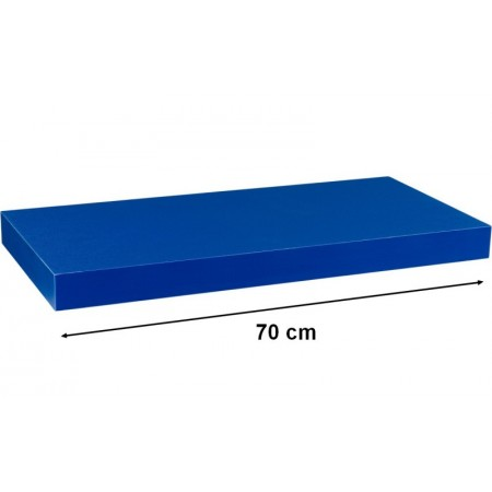 Moderní nástěnná police modrá, 70 cm