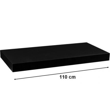 Moderní nástěnná police černá, 110 cm