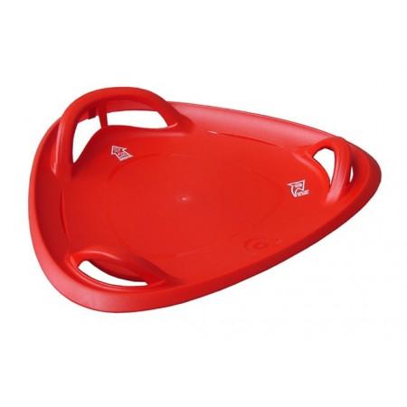 Kulatý sáňkovací talíř s vodícími drážkami, červený