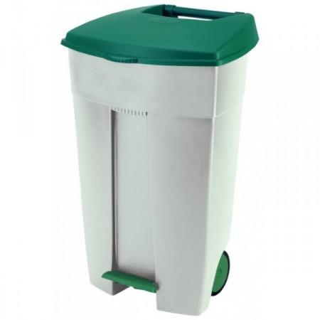 Velká plastová popelnice na odpadky 110 l, odklápěcí víko - nášlapný mechanismus