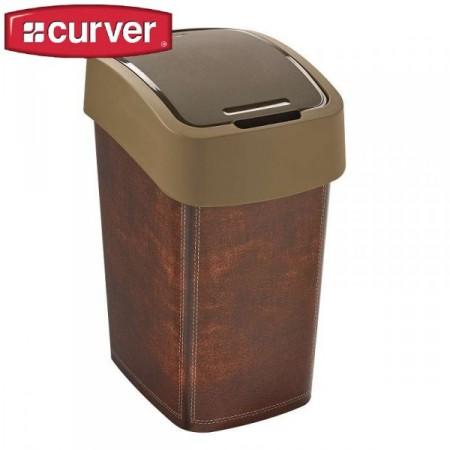 Designový odpadkový koš koženého vzhledu s víkem 25 l, hnědý