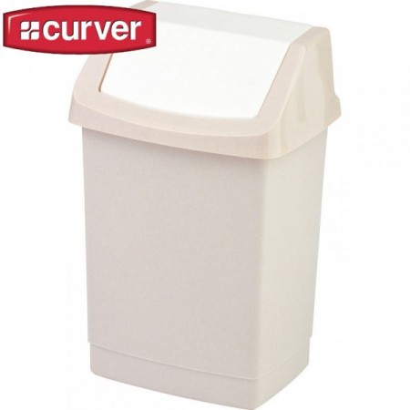 Plastový odpadkový koš s výklopným víkem 25 l, krémový