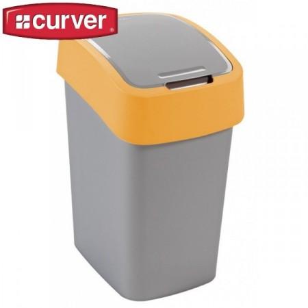 Plastový odpadkový koš s víkem 25 l, 2 stupně otevření, žlutá / šedá