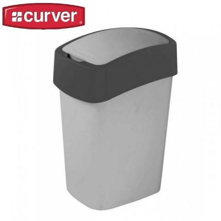 Odpadkový plastový koš s víkem 10 l, 2 stupně otevření, stříbrná / antracit