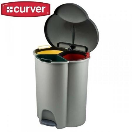 Odpadkový koš se třemi nádobami na tříděný odpad