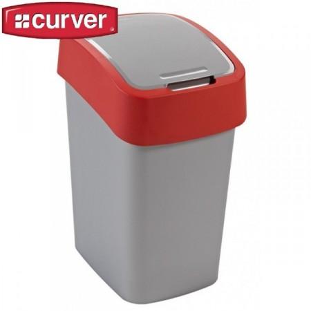 Odpadkový koš s víkem 25 l, 2 stupně otevření, červená / šedá