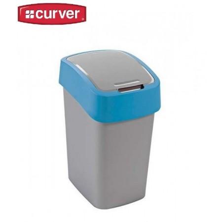 Odpadkový koš s víkem 25 l, 2 stupně otevření, modrá / šedá