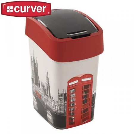 Designový odpadkový koš 25 l, 2 stupně otevření víka, potisk Londýn