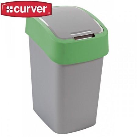 Odpadkový koš s víkem 25 l, 2 stupně otevření, zelená / šedá