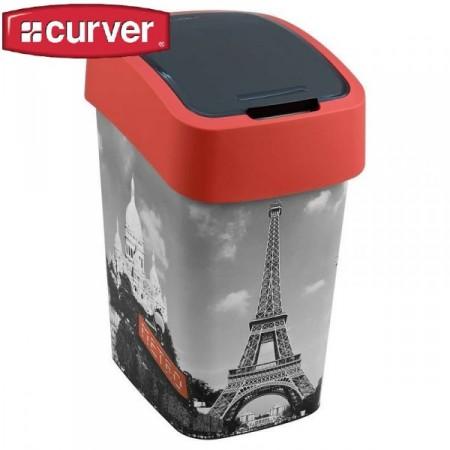 Odpadkový koš s víkem 25 l, 2 stupně otevření, potisk Paříž
