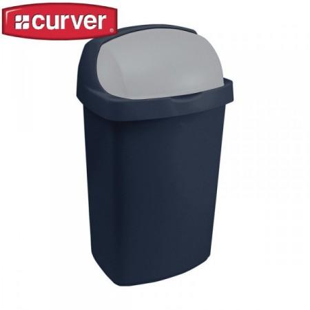 Velký koš na odpadky 50 l, zasouvací víko, tmavě modrý