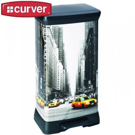 DEsignový odpadkový koš vysoký, 50 l, potisk New York