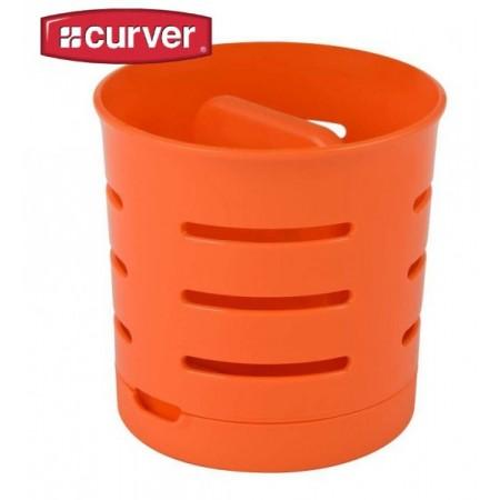 Plastový designový odkapávač na příbory - oranžový