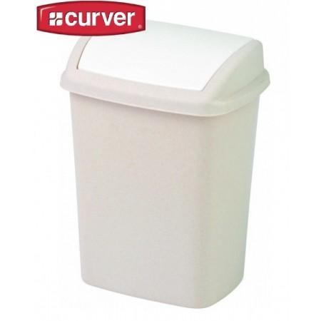 Plastový odpadkový koš s otočným víkem 10 l, krémový