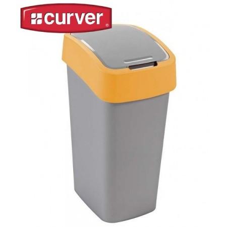 Odpadkový koš s víkem 10 l, 2 stupně otevření, žlutá / šedá