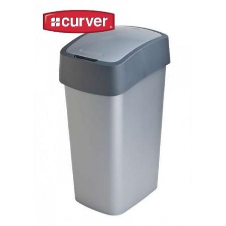 Velký odpadkový koš s víkem 50 l, 2 stupně otevření, šedý
