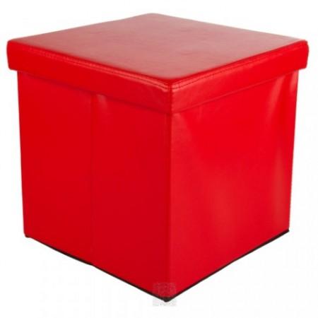 Skládací taburet z umělé kůže, 38 x 38 x 38 cm, červený
