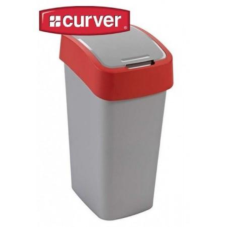 Velký odpadkový koš s víkem 50 l, 2 stupně otevření, červená / šedá