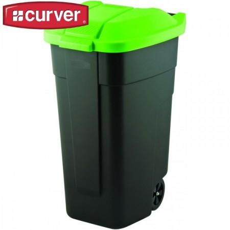 Plastová popelnice na odpadky s víkem 110 l, černá / zelená