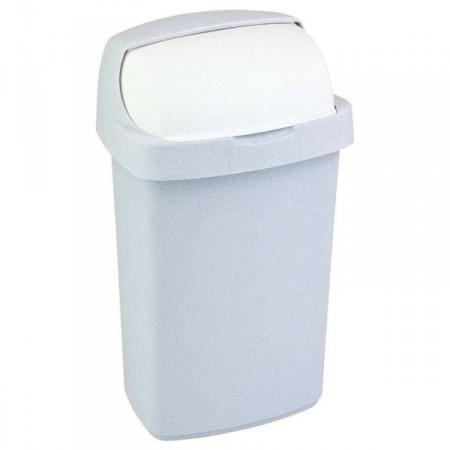 Plastový koš na odpadky se zasouvacím víkem 10 l, šedý