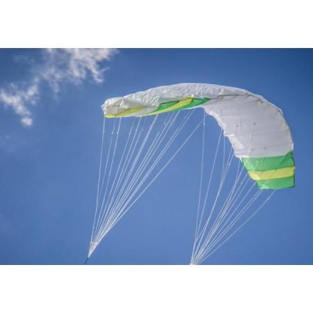 Létající drak - kite 200x70 cm, akrobatický, 2 vodící lana, zelená / bílá