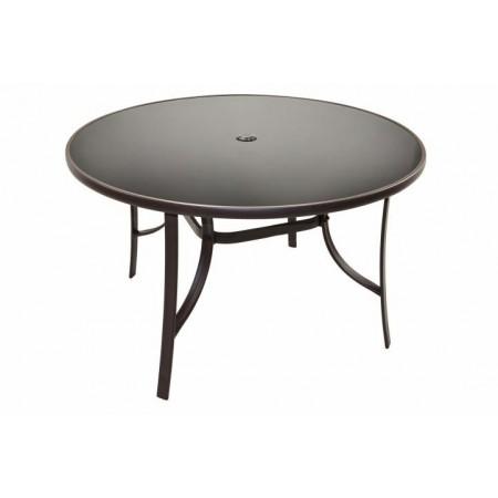 Kovový bistro stůl se skleněnou deskou, otvor pro slunečník, 120 cm