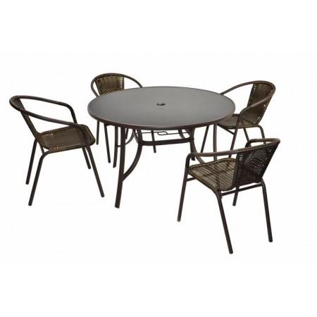 Set venkovního nábytku, kulatý stůl se skleněnou deskou + 4 židle, hnědá
