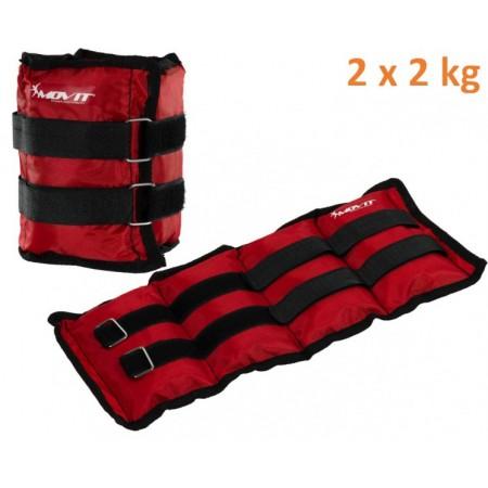Kondiční zátěže s pískem na ruce, nebo nohy, červené, 2 x 2 kg