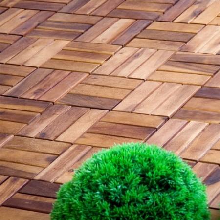 11 ks dlaždic z akátového dřeva, rozměry 30 x 30 x 2,4 cm