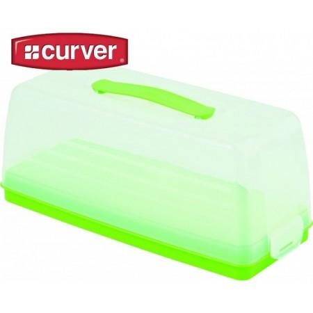Plastový podnos na dort s poklopem, zelený