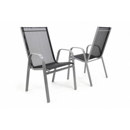 2 ks kovová židle s textilním sedákem a opěradlem, stohovatelná