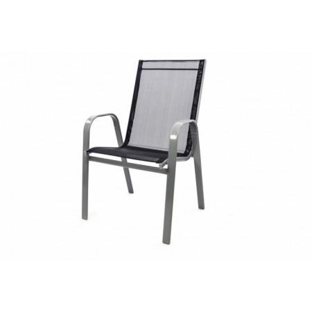 Zahradní stohovatelná židle s textilním výpletem, antracit