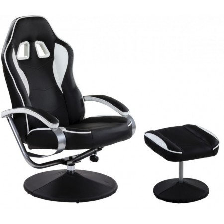 Luxusní otočné kancelářské křeslo s podnožkou, černá / bílá