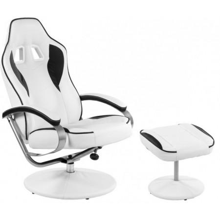 Kancelářské křeslo s integrovanou opěrkou hlavy, vč. podnožky, bílá / černá