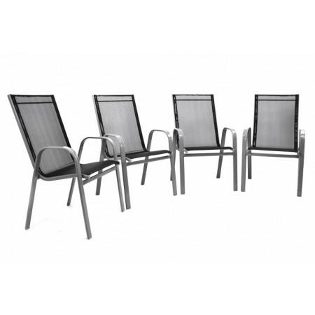 4 ks zahradní stohovatelná židle, kov + textilie, antracit
