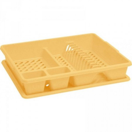 Plastový odkapávač na nádobí s podnosem na odkapanou vodu, žlutý