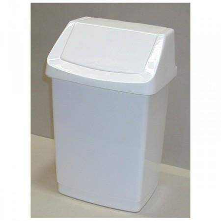 Velký odpadkový koš s výklopným víkem 50 l, bílý