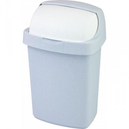Hranatý odpadkový koš plastový 25 l, zásuvné víko, šedý