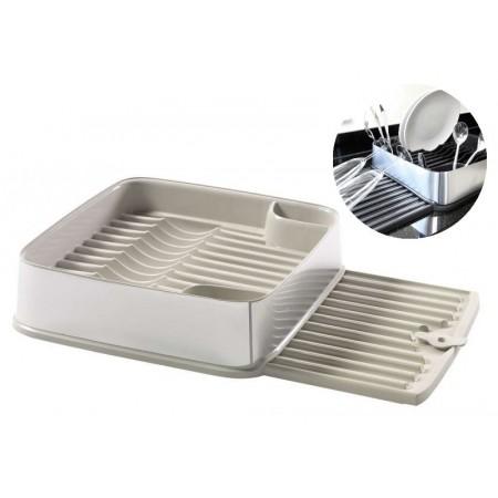 Plastový odkapávač na nádobí výsuvný, krémový
