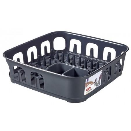 Čtvercový plastový odkapávač na nádobí, tmavě šedý