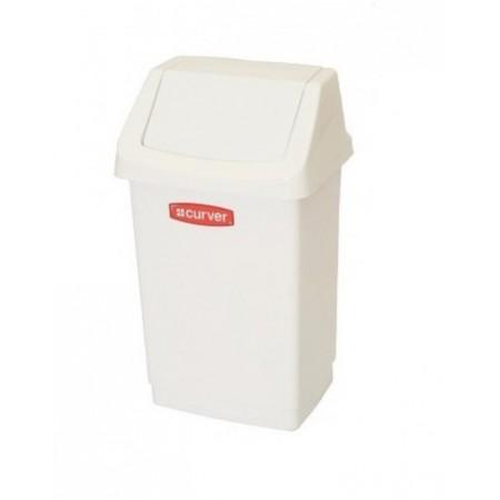 Plastový odpadkový koš s ručním otevíráním 9 l, bílý