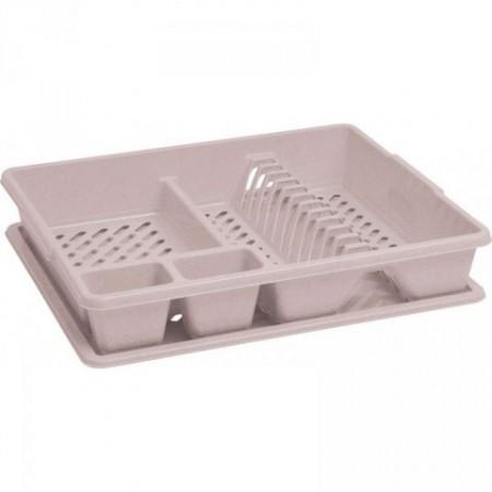 Plastový odkapávač na nádobí s podnosem na vodu, krémový