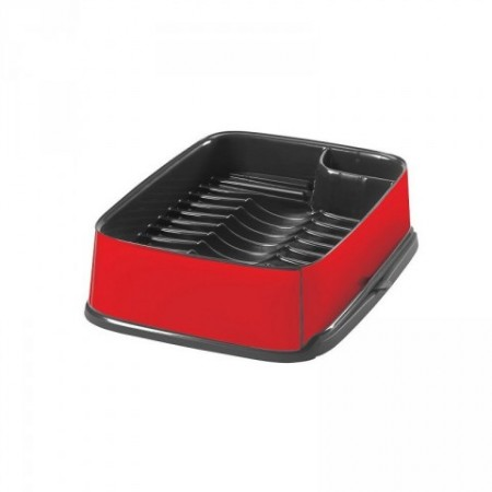 Moderní odkapávač na nádobí s výsuvnou částí, červená / černá