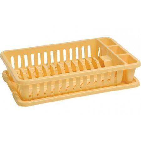 Odkapávač na nádobí s tácem na odkapanou vodu, žlutý