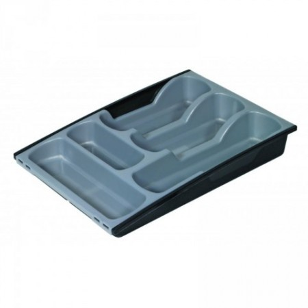 Plastový příborník do šuplíku, černá / šedá