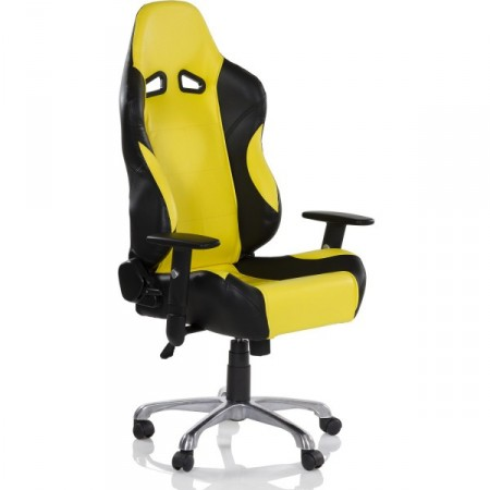 Otočná židle na kolečkách, vzhled sedačky sportovního auta, černá / žlutá