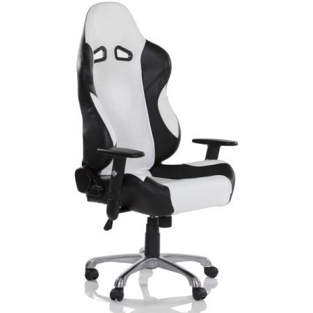 Otočná židle na kolečkách, sportovní vzhled, bílá / černá