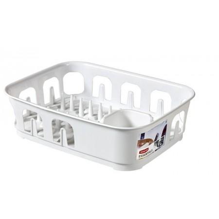 Moderní plastový odkapávač na nádobí - obdélníkový, bílý